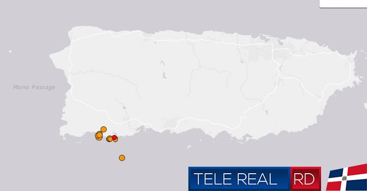 Mapa de Puerto Rico ensena donde fue el Sismo